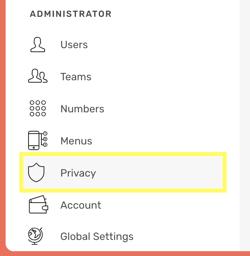 CircleLoop - Administrator Menu - Privacy