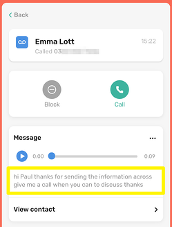 CircleLoop - Desktop - Received Voicemail - Call Info and Transcription