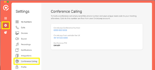 CircleLoop - Desktop - Settings Menu - Conference Calling