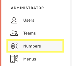 CircleLoop - Settings - Administrator - Numbers
