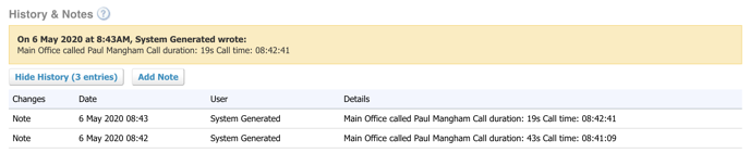 Call details logged in Xero against Contact