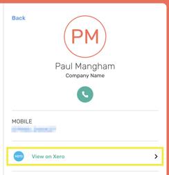 Xero Contact Details in CircleLoop